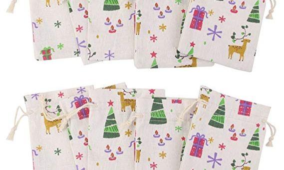 10pcs Linen Jute Drawstring Gift Bags Sacks Party Favors Xmas Pattern 8 x 10cm