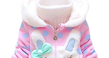 Baby Girls Coat Winter Warm Hooded Fleece Jacket Rabbit Ears Toddler Clothes
