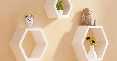 Set of 3 Hexagon Shelves Floating Hexagonal Wall Shelf Lounge Cube Mount Shelves Bookcase Storage Display (White)
