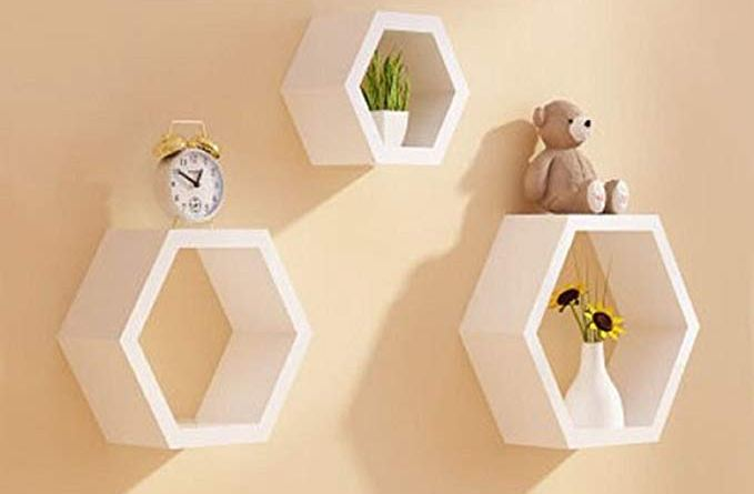 Set of 3 Hexagon Shelves Floating Hexagonal Wall Shelf Lounge Cube Mount Shelves Bookcase Storage Display (White)