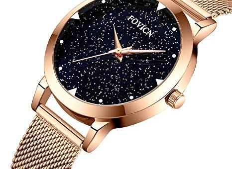 Watches,Women Fashion Luxury Wrist Watches for Women Business Dress Casual Waterproof Quartz Watch for Starlight Dial