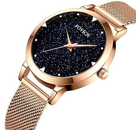 Watches,Women Fashion Luxury Wrist Watches for Women Business Dress Casual Waterproof Quartz Watch for Starlight Dial