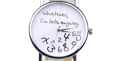 """Whatever, I'm late anyway"" Women's Fashion Analog Digital Quartz Birthday Gift Faux Leather Wristwatch White"
