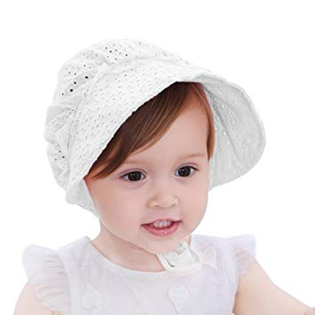 Baby Girl Sun Hat, Wide Brim Breathable Baby Bonnet Sweet Princess Style Flower Eyelet Summer Cap (White)
