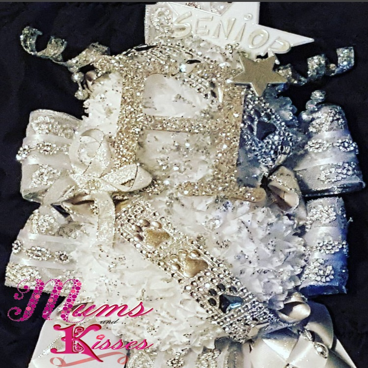 Silver and white homecoming mum