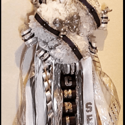 Triple Homecoming Mum Black and White with Bling