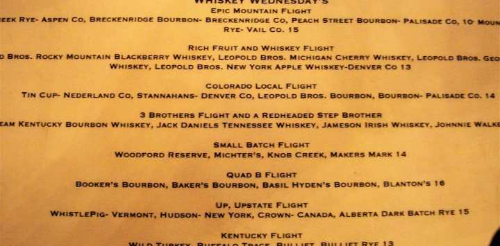 Whiksy menu in Vertical restaurant, Winter Park ski resort
