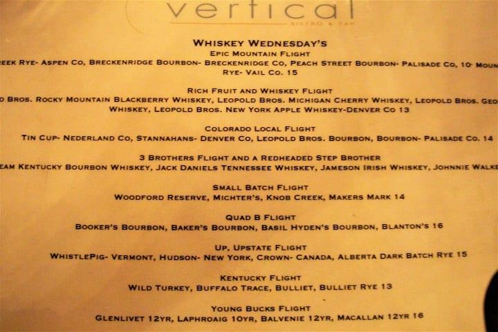 Whiksy menu in Vertical restaurant, Winter Park ski resort