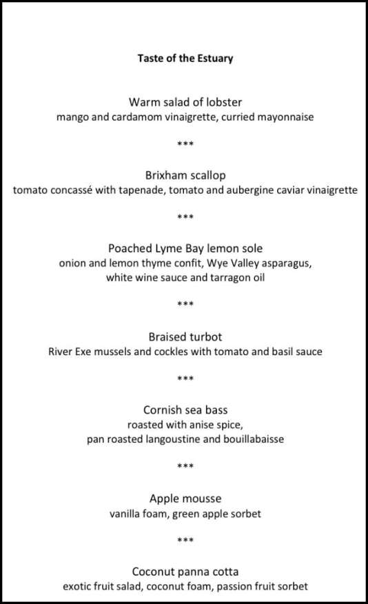 Taste of the estuary menu Lympstone Manor