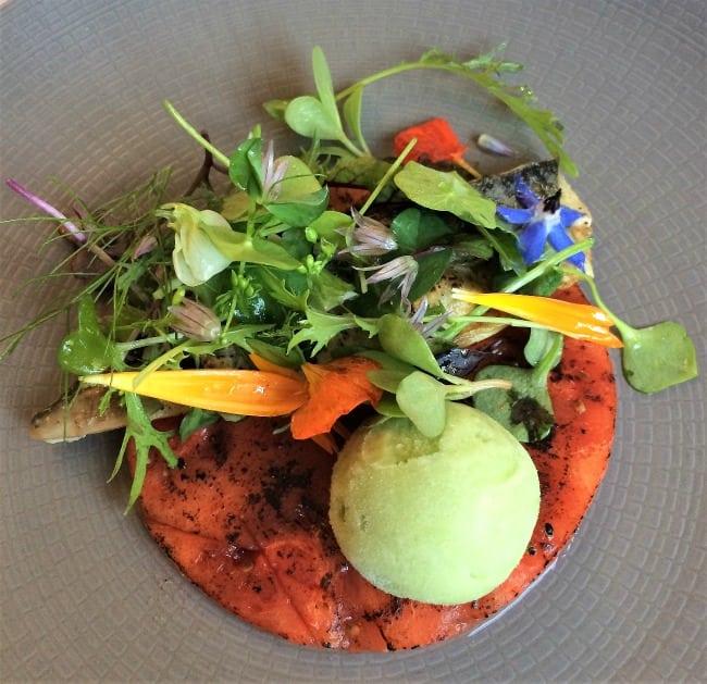 Blackaddie hotel starter mackerel and watermelon