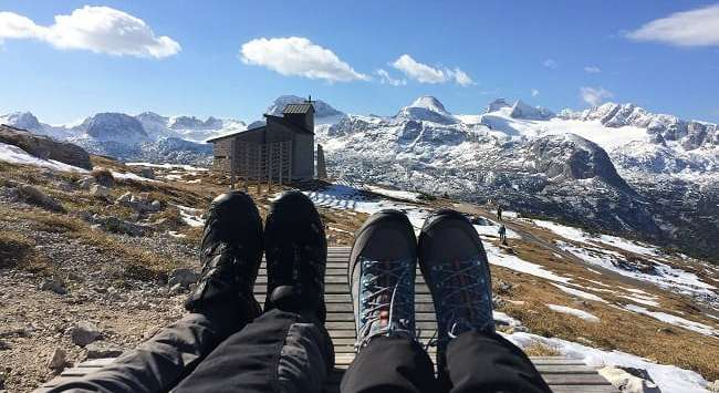 Feet up on top of Dachstein mountains