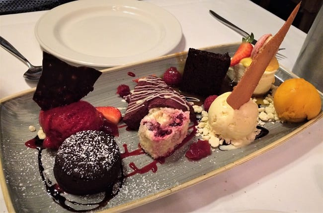 plate of 8 desserts at The Hoste