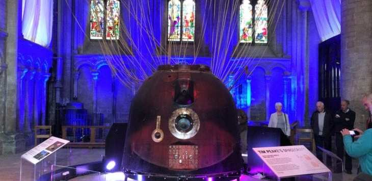 Tim Peake's soyuz spacecraft in Peterborough Cathedral