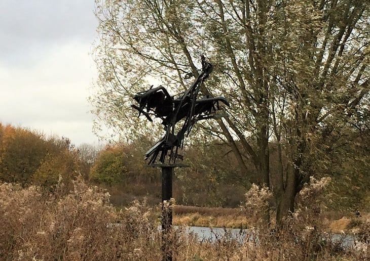 Cormorant sculpture by Elizabeth Cooke, in Peterborough