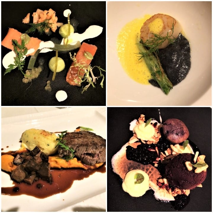Dishes on fine dining menu, REstaurant Balances, Lucerne