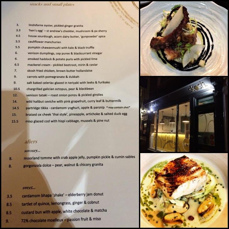Menu and dishes at Skosh restaurant, York