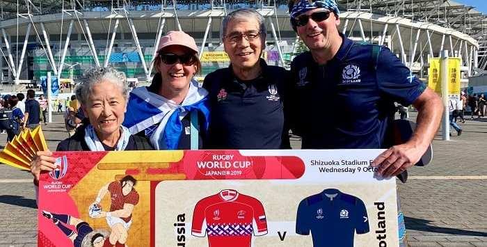 Japanese and Scottish rugby supporters, Shizuoka
