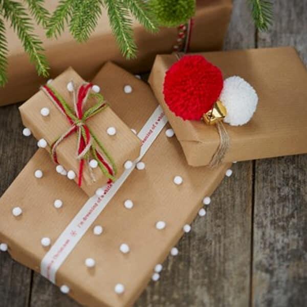 Hobbycraft pompom gift wrap Christmas