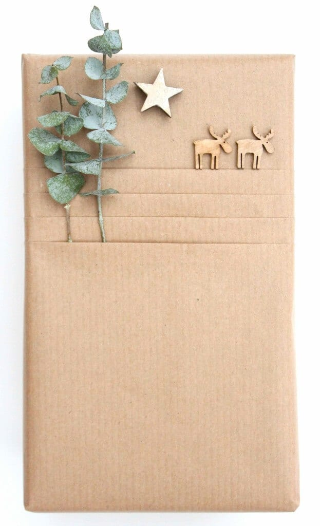 Kates Creative Space brown paper Christmas gift wrap