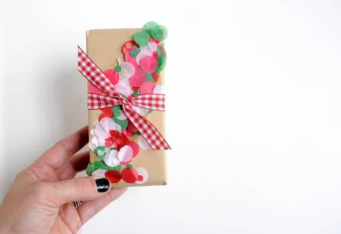 Mod Podge Rocks confetti gift wrap