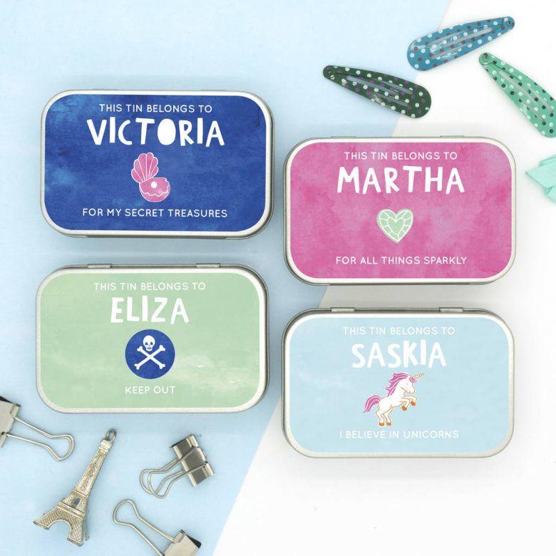 Alternative to kids party favour bag ideas - original personalised keepsake tin