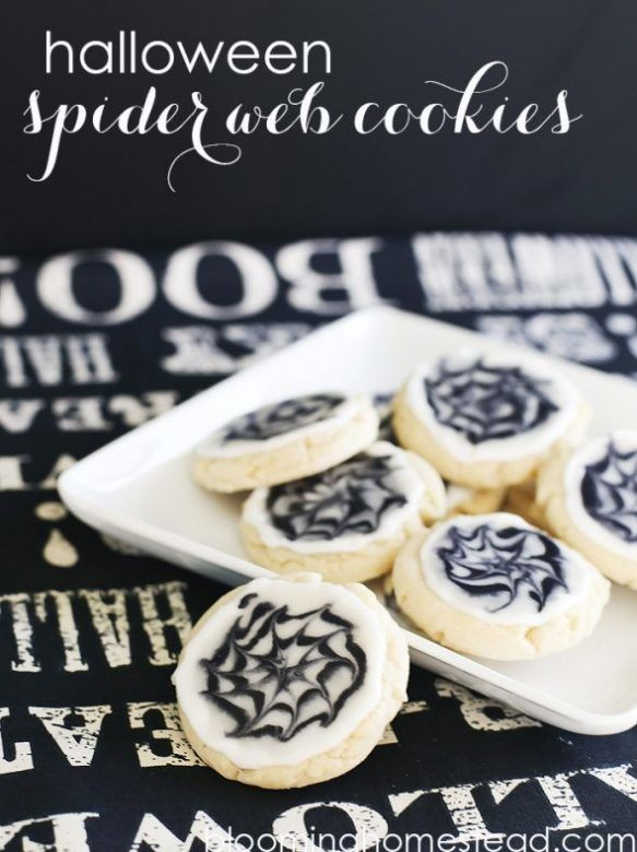 Halloween party food - spiders web cookies, Halloween tea party food, Halloween treats for kids