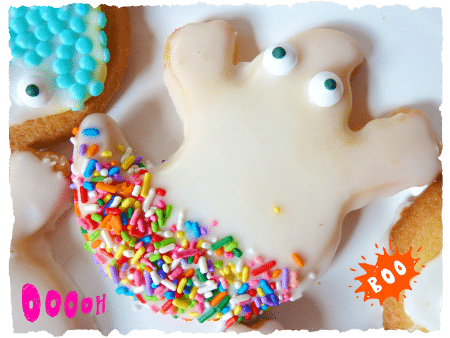 Fun Halloween Party Food, easy to make ghost biscuits recipe for Halloween