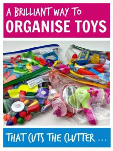 Organize toys ... a brilliantly easy way to save toys that saves space and makes sure the toys actually get played with - genius