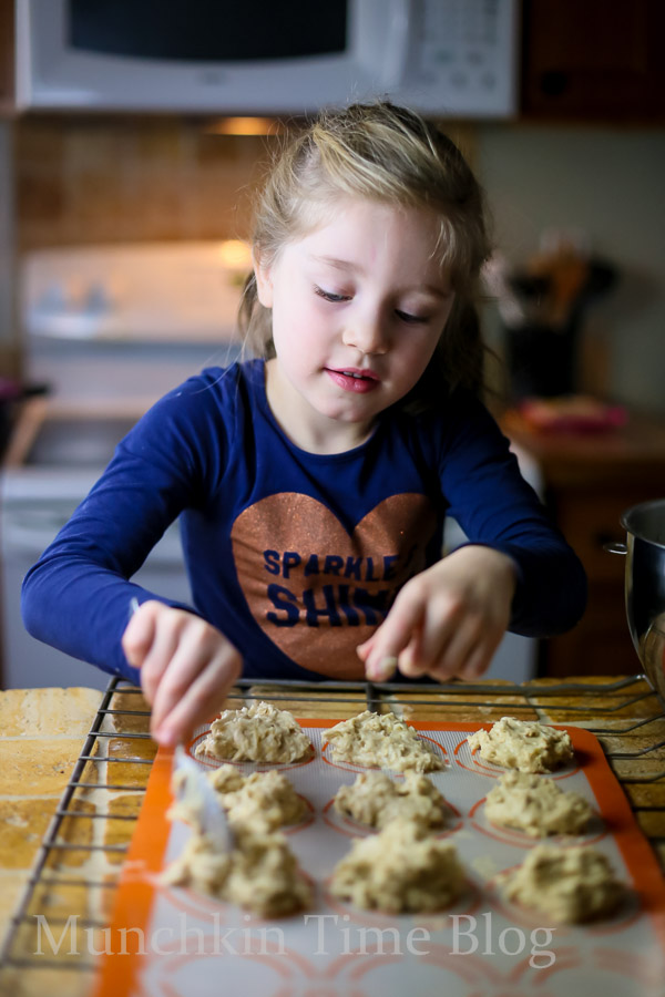 Place 1 tablespoon of dough onto baking sheet lined with parchment paper, and bake for 10 minutes, or until banana cookies turn golden color.