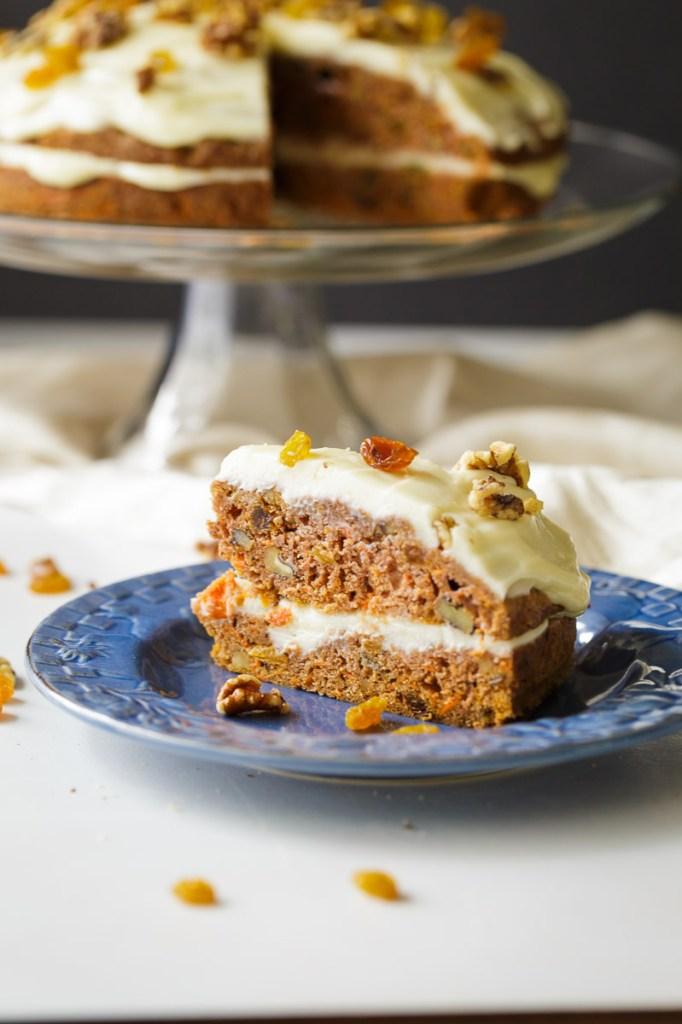 Yummy Carrot Cake with Walnuts and Raisins