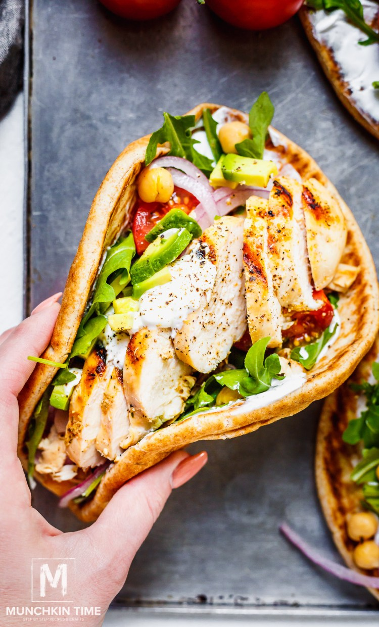 Munchkin Time's Easy Grilled Chicken Pita Recipe