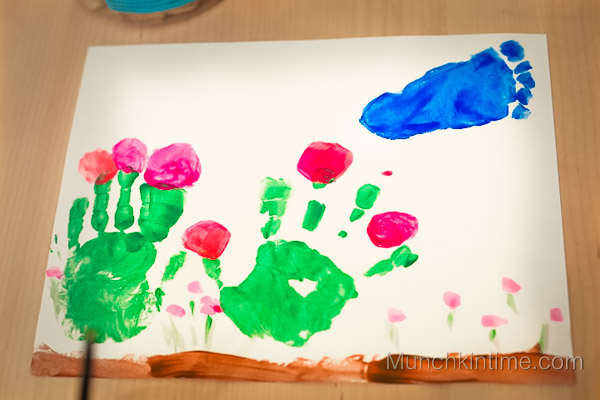 Little Bird and Flowers Handprint Craft