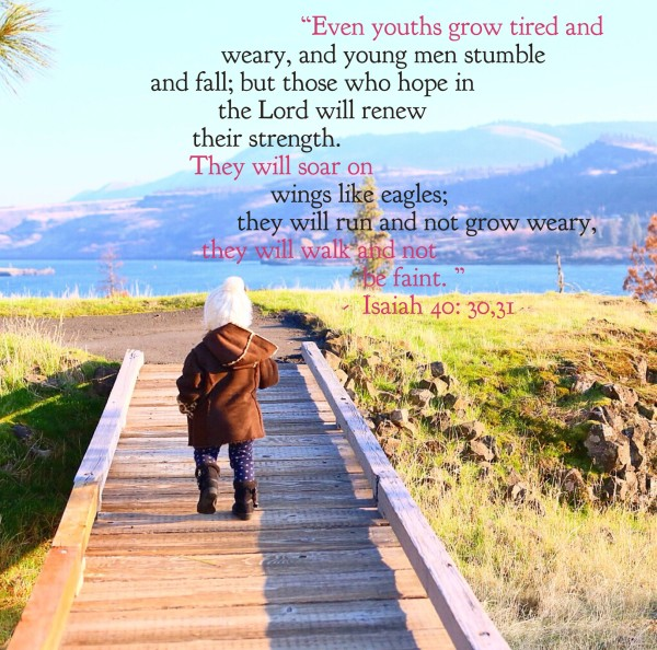 30 Even youths grow tired and weary, and young men stumble and fall; 31 but those who hope in the LORDwill renew their strength. They will soar on wings like eagles; they will run and not grow weary, they will walk and not be faint. Isaiah 40:30-31