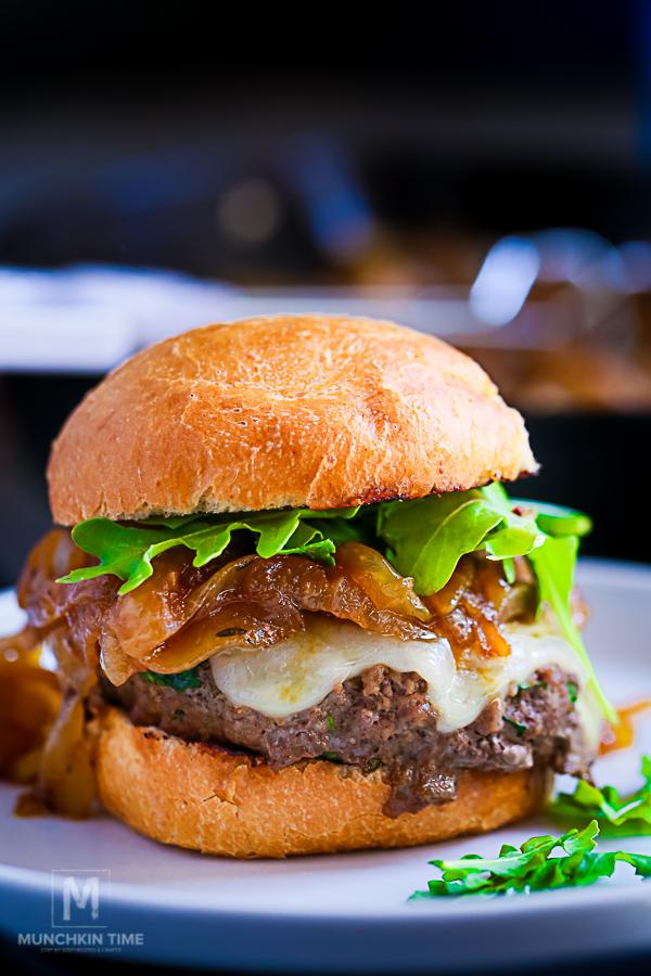 Caramelized Onion Arugula Burger Recipe