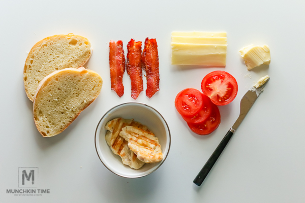 Cheesy Chicken Bacon #Penini - grilled chicken breast topped with baked bacon and ripe tomatoes, followed by melted cheese. #peninirecipes