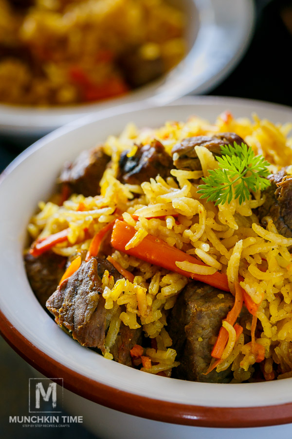 One Pot Meal - Beef Rice Pilaf Recipe (Uzbek Plov) - It is so Good!!! www.Munchkintime.com