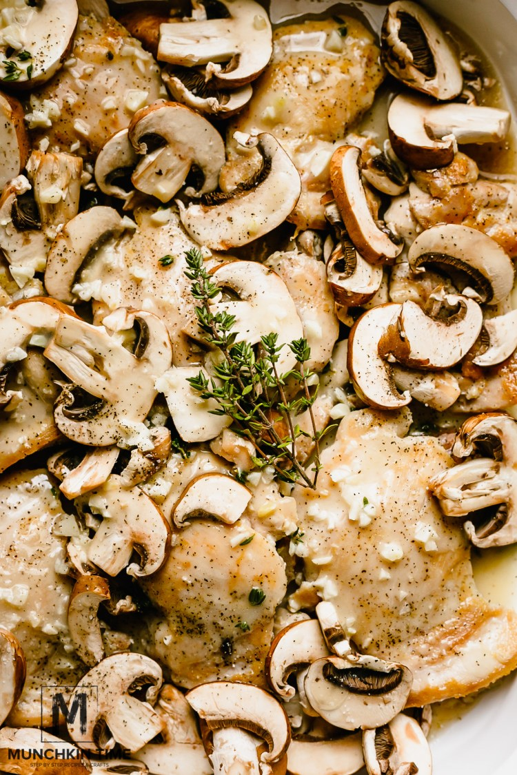 Easy Creamy Chicken Thigh Mushroom Casserole Recipe - Onto the same casserole with chicken thighs add sliced mushrooms and pour the hot sauce over the chicken thighs, bake for 10 - 15 minutes, uncovered. Broil on high heat for 3-5 minutes.