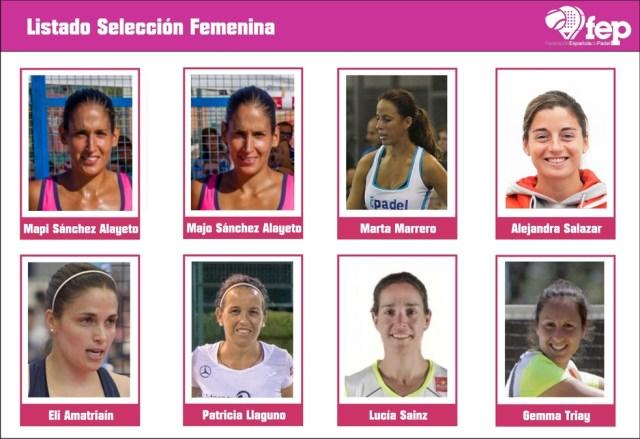 Lista de seleccionadas femeninas para el Mundial de Padel 2016