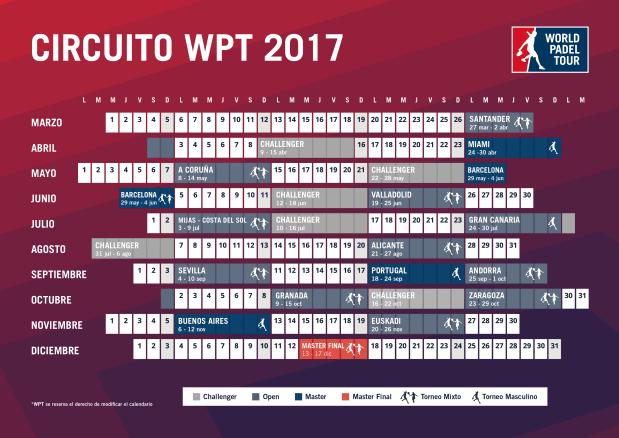Sedes circuito World Padel Tour 2017