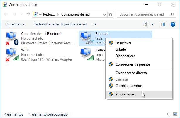 Cambiar DNS Windows 10