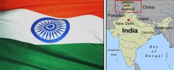 mapa y bandera de la india