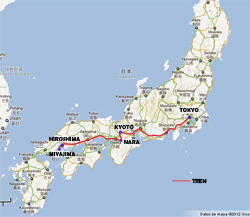 Mapa de nuestra ruta en Japón