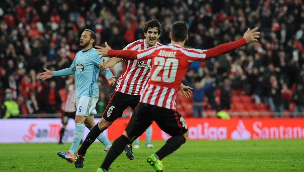 Aduriz y San José remontaron el gol de Iago Aspas en la visita del Celta a San Mamés de la pasada campaña.
