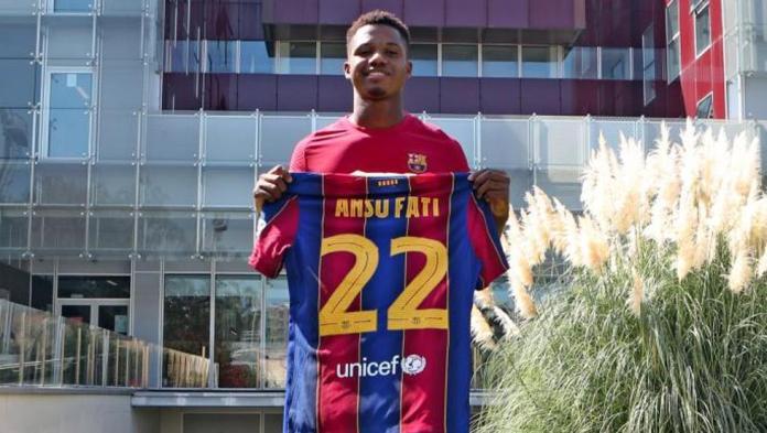 Ansu Fati, avec le numéro 22 sur le maillot du Barça
