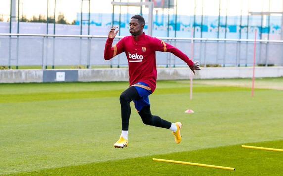 Dembélé, durante un entrenamiento del Barça