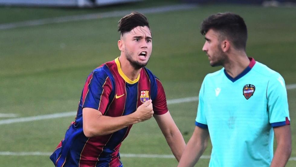 Jaume Jardí celebra su gol en el Barça.-Levante en cuartos de la Copa de Campeones de juveniles