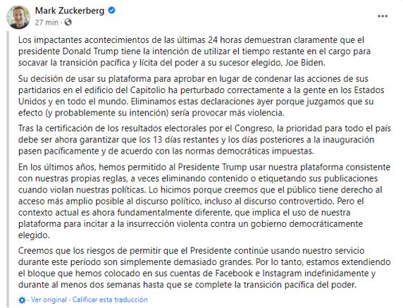 Facebook y Twitter bloquean las cuentas de Donald Trump tras el asalto al Capitolio