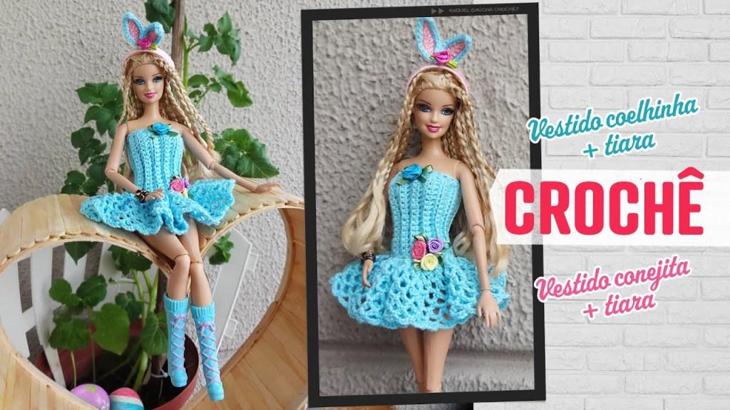 Vestido conejita con tiara a crochet para Barbie