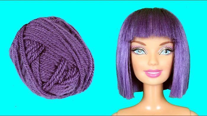 Pelo para Barbie de color purpura con lana
