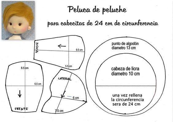 Peluca peluche cabezas 24 cm